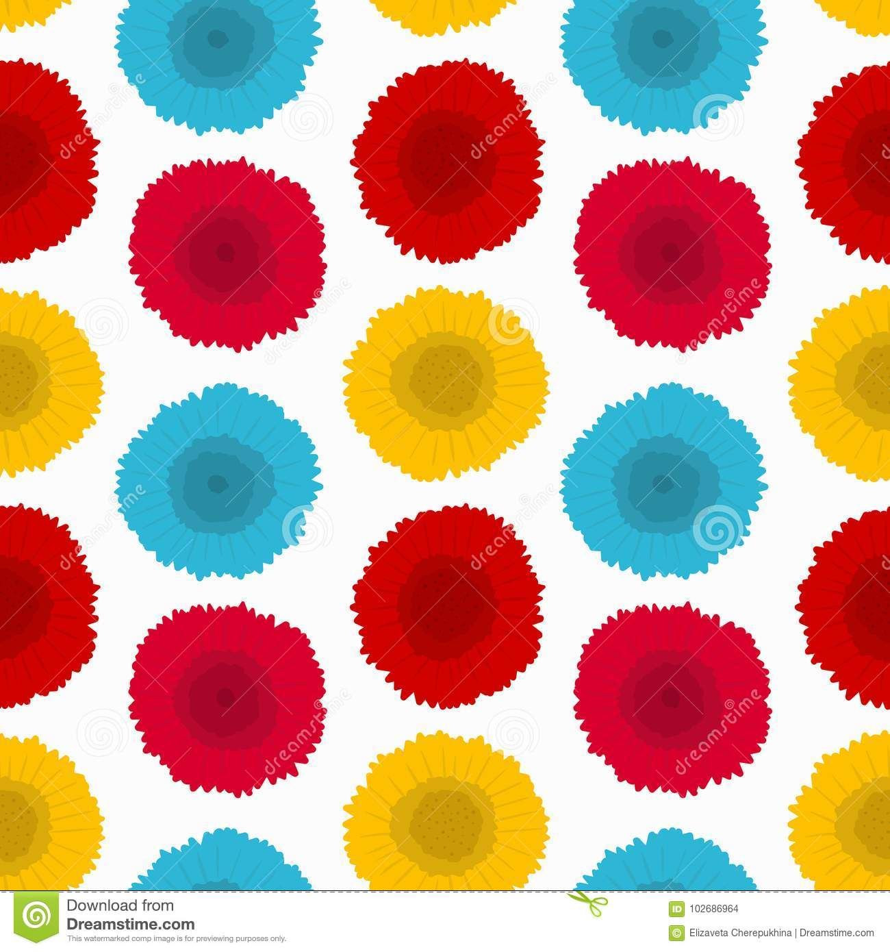 Flower Decorative Seamless Pattern Vector Texture With Flowers On