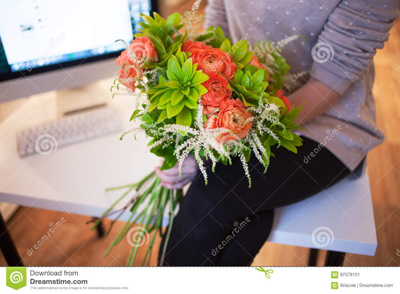 Flower Delivery To The Office Young Happy Woman Holding Beautiful
