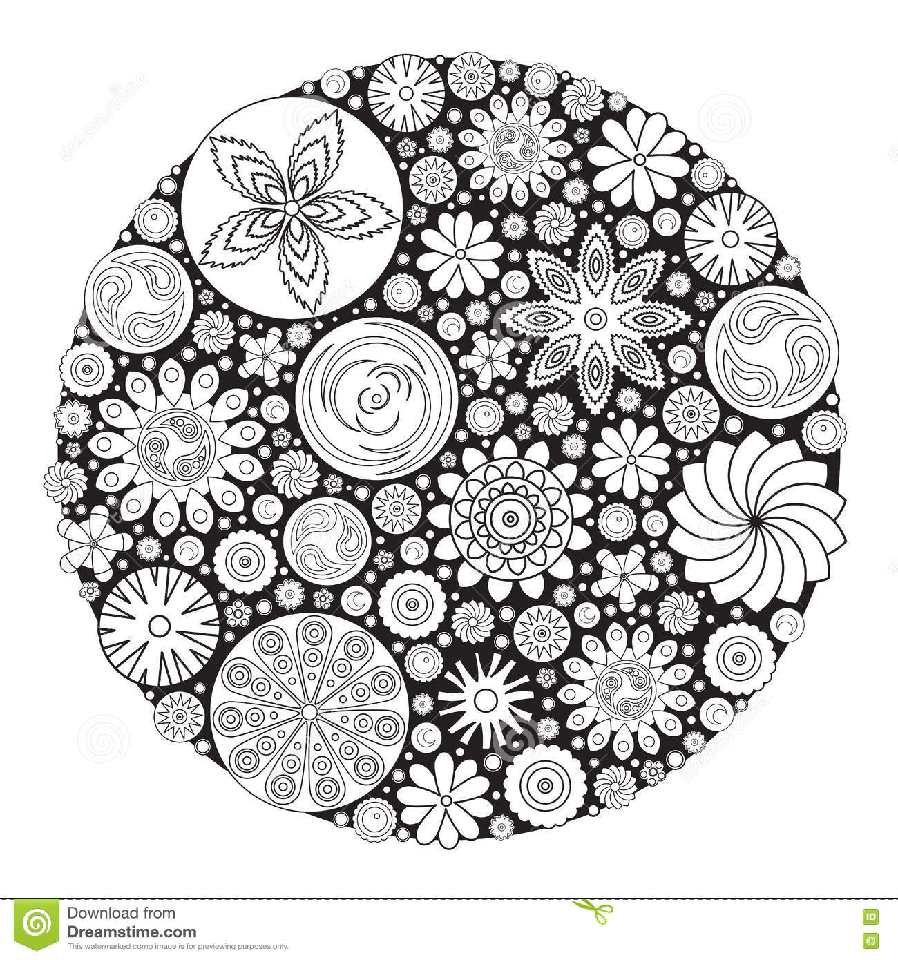 Coloring book grown up - Flower Design For Coloring Book For Grown Up