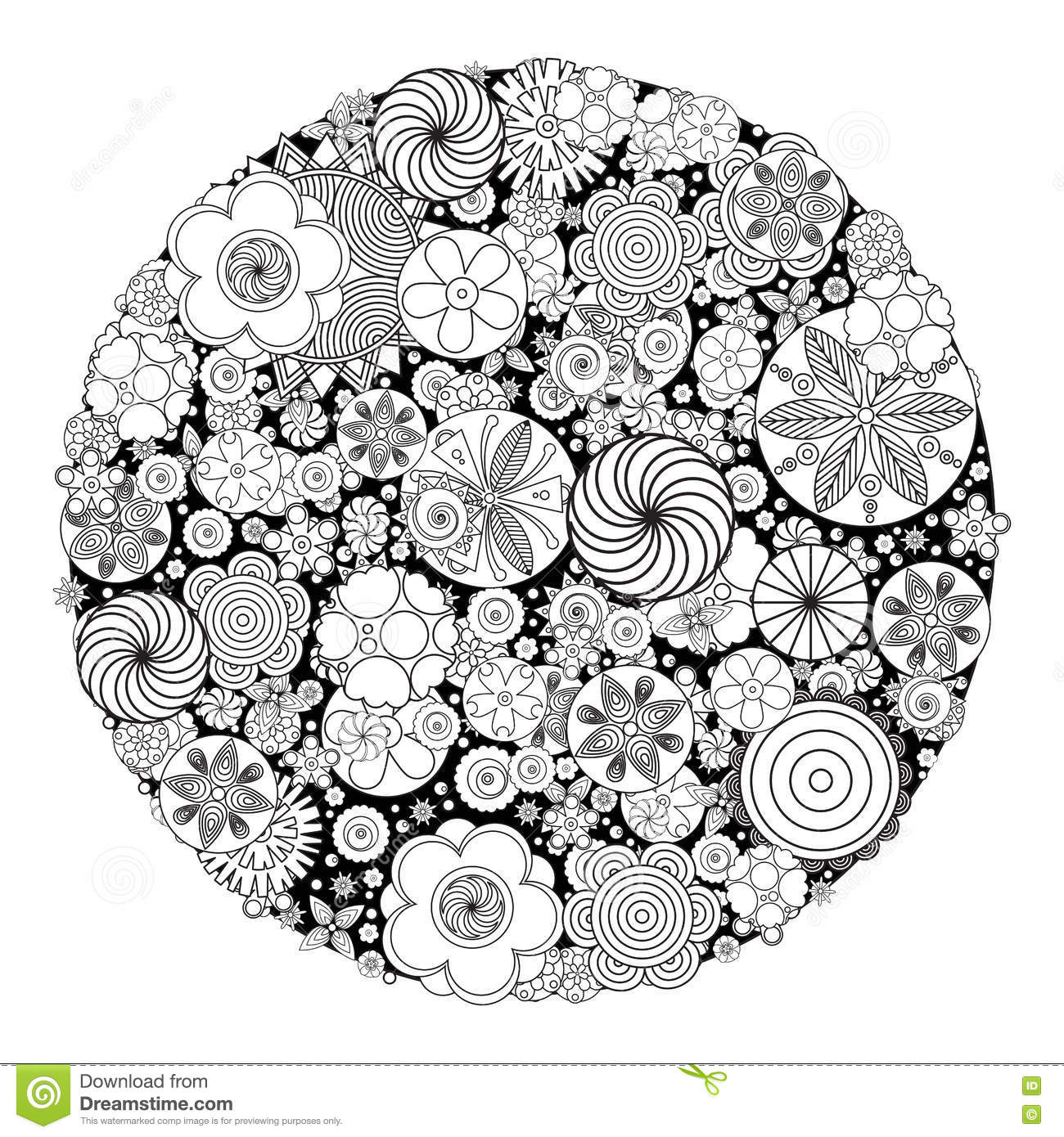 Flower designs coloring book - Flower Design For Coloring Book For Grown Up Stock Vector