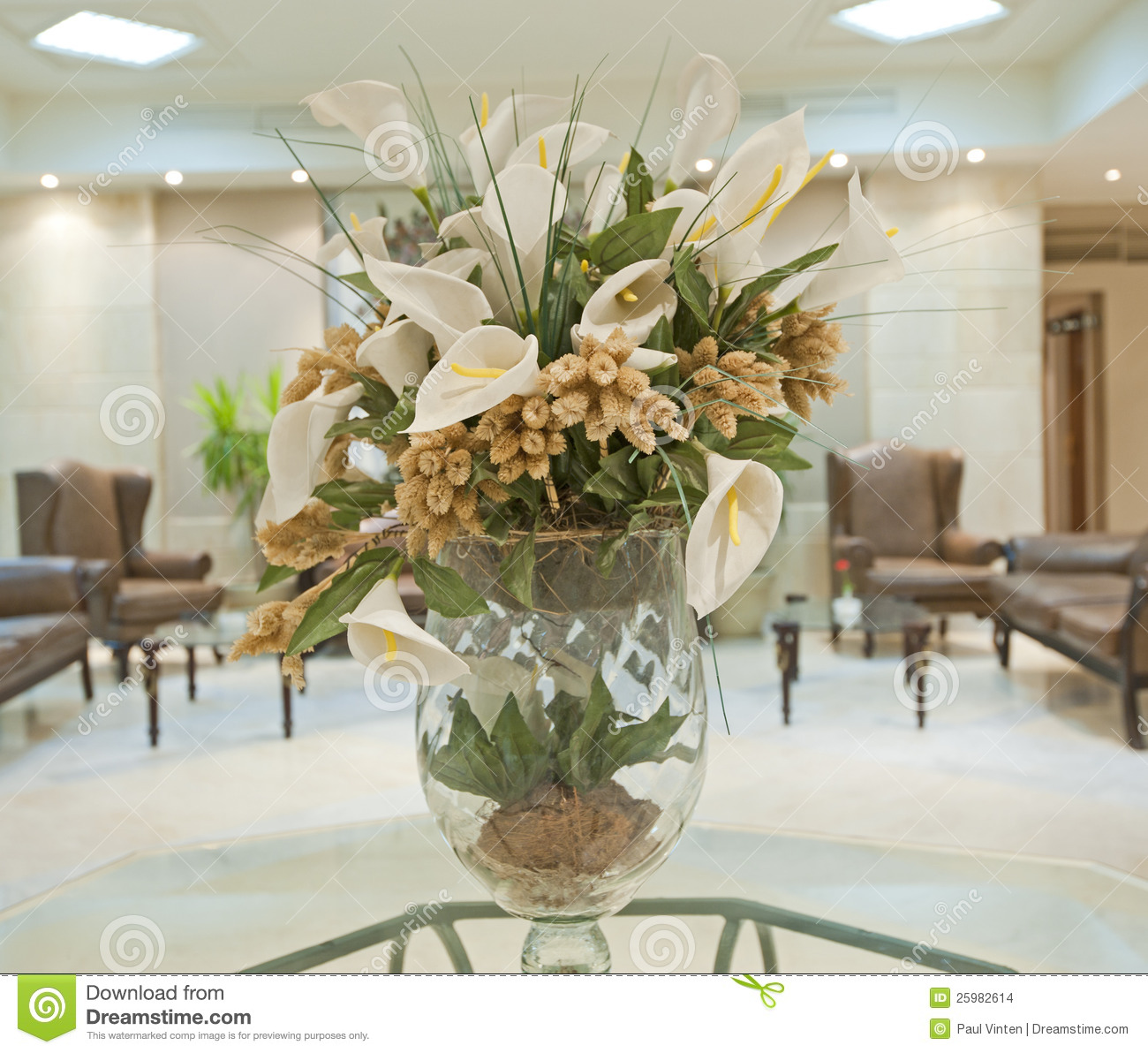 Flower Display In A Hotel Lobby Stock Photo Image Of Lobby Display 25982614