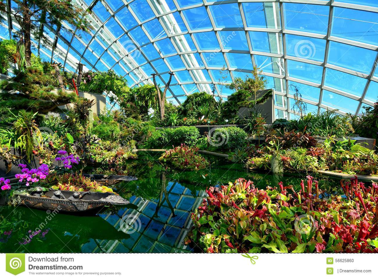 Garden By The Bay Flower flower dome, gardensthe bay, singapore stock photo - image