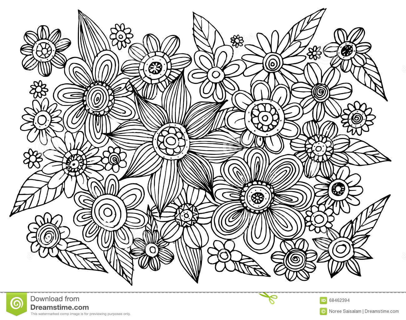 Flower Doodle Circle Vector Stock Vector - Illustration of ornament