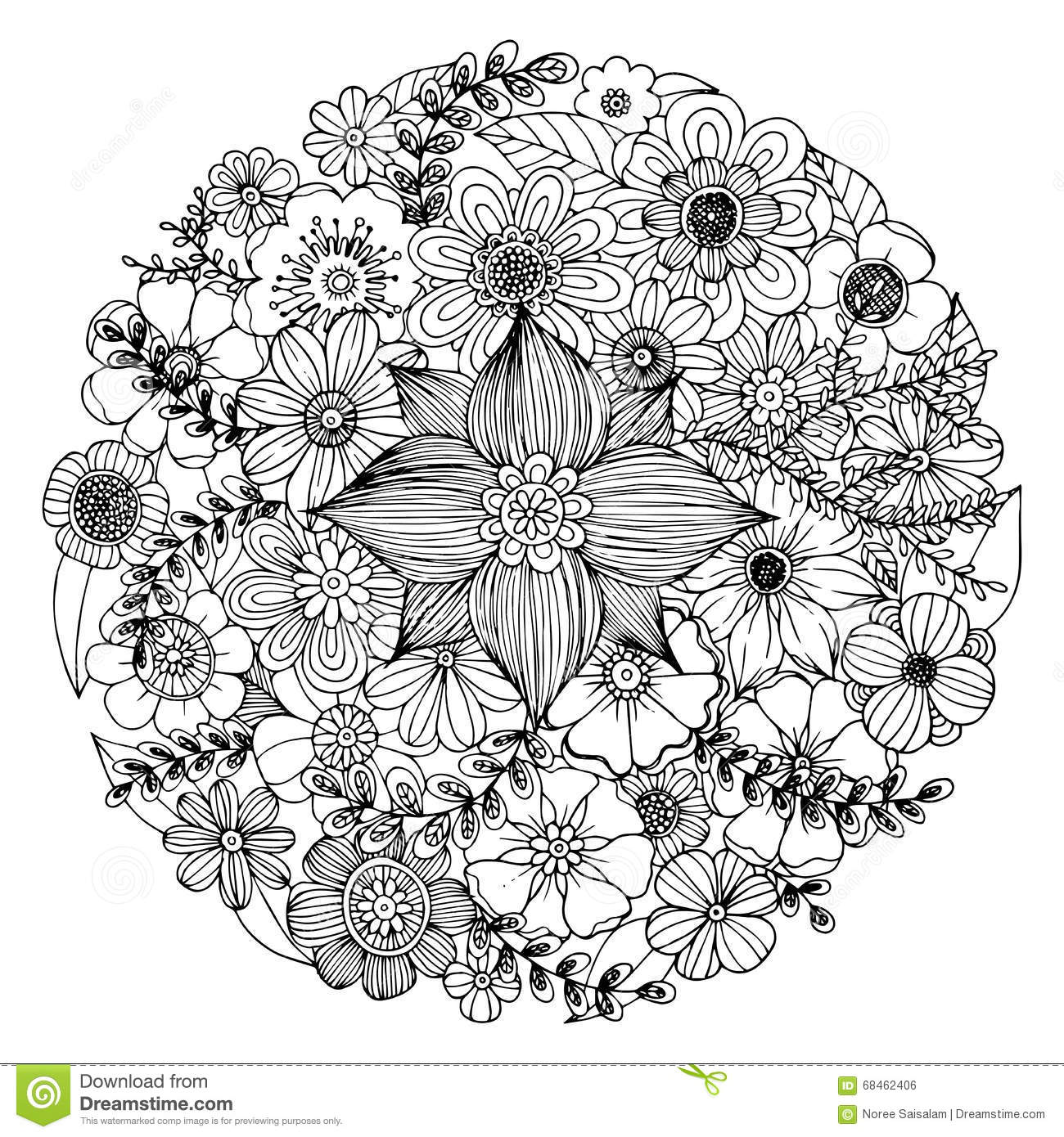 Flower Doodle Circle Vector Stock Vector - Illustration Of Coloring Vintage 68462406