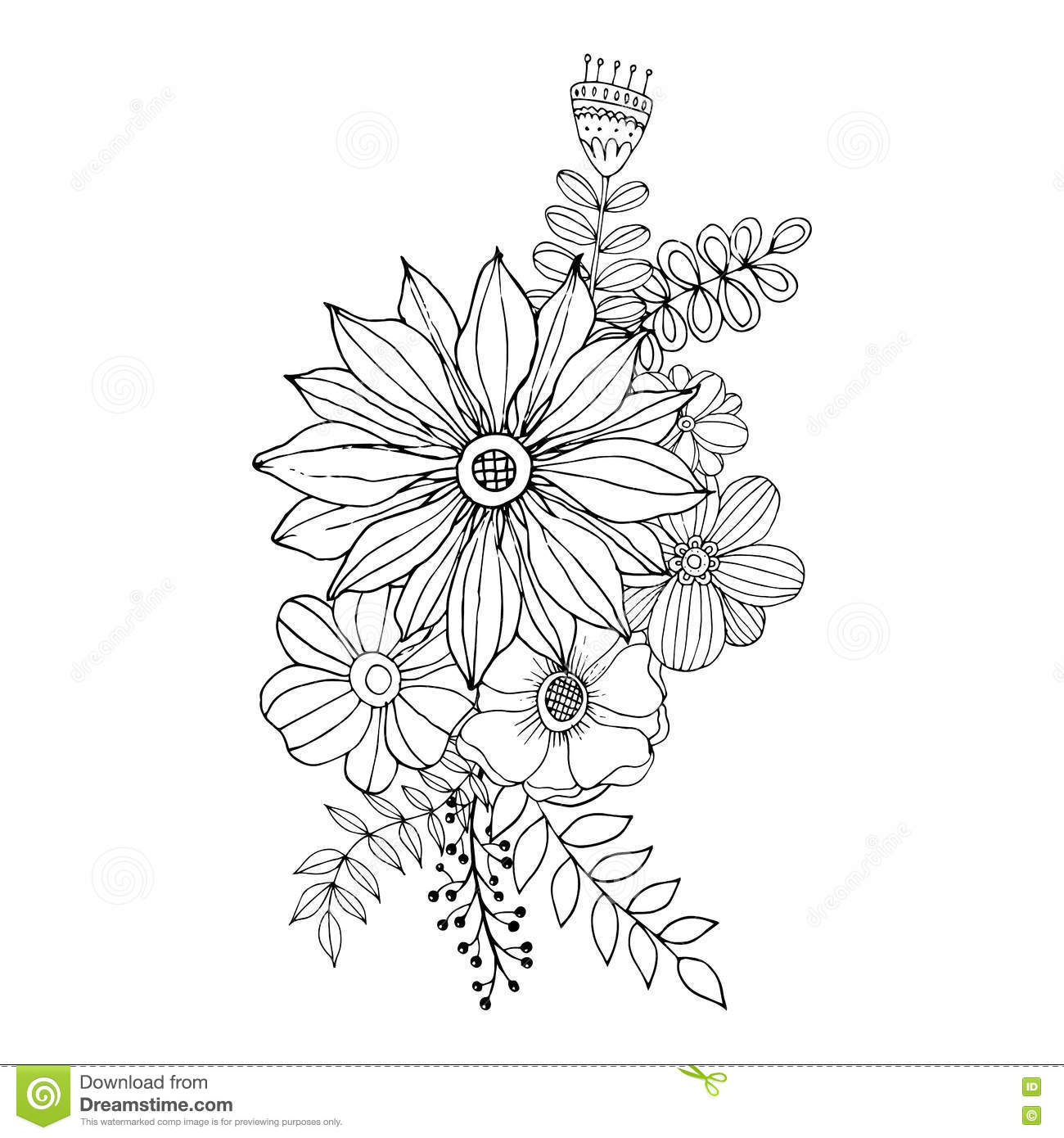 flower doodle drawing freehand coloring page with doodle stock