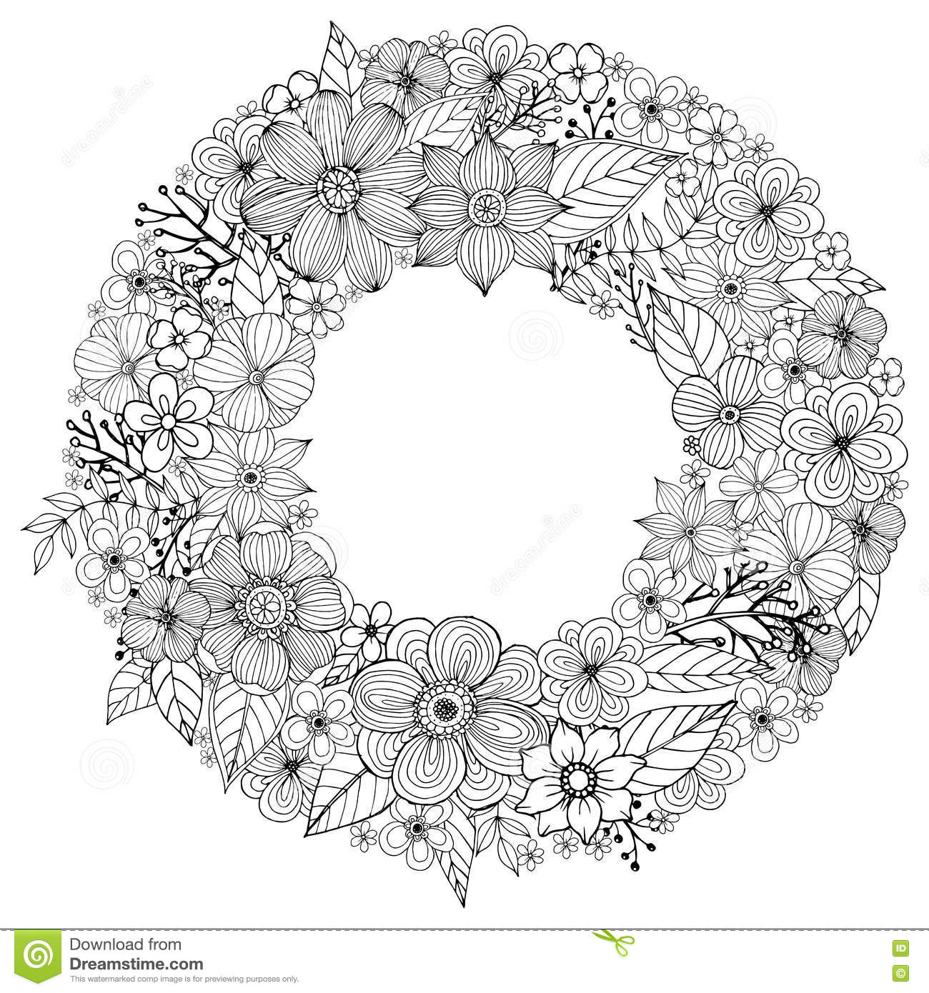 Flower Doodle Drawing Freehand Coloring Page With