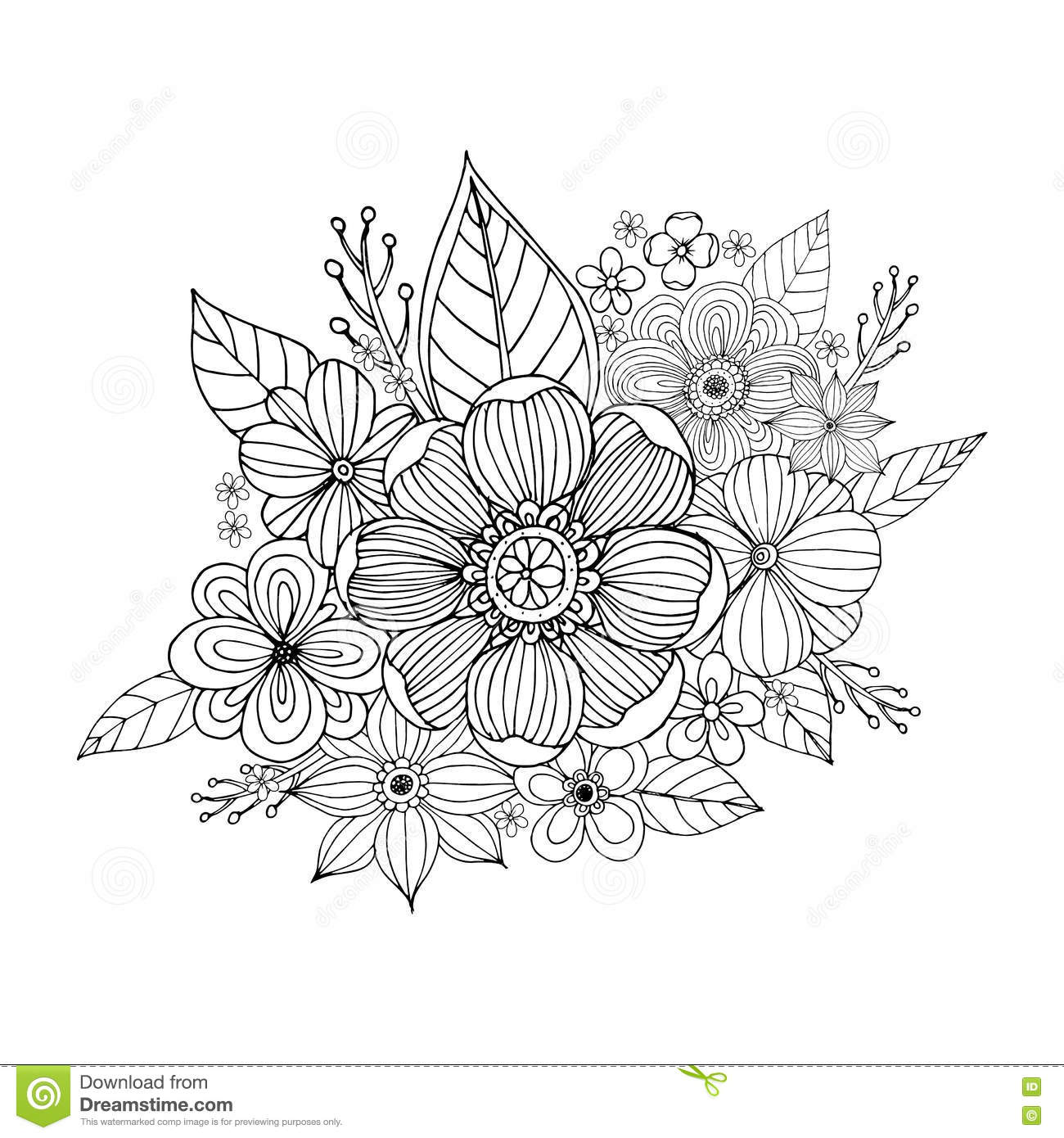 Flower Doodle Drawing Freehand Stock Vector - Illustration of color ...