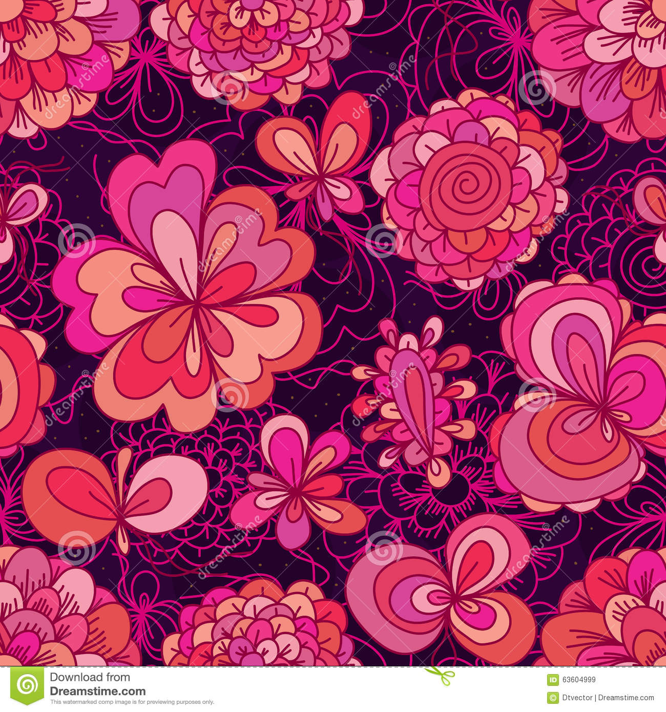 Flower Drawing Color Pink Cute Seamless Pattern Stock ...