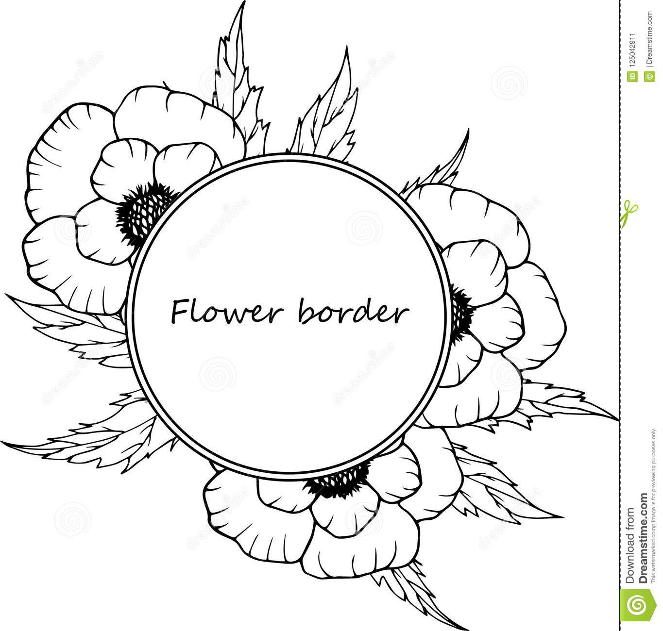 flower drawing frame isolated template hand drawn floral wedding