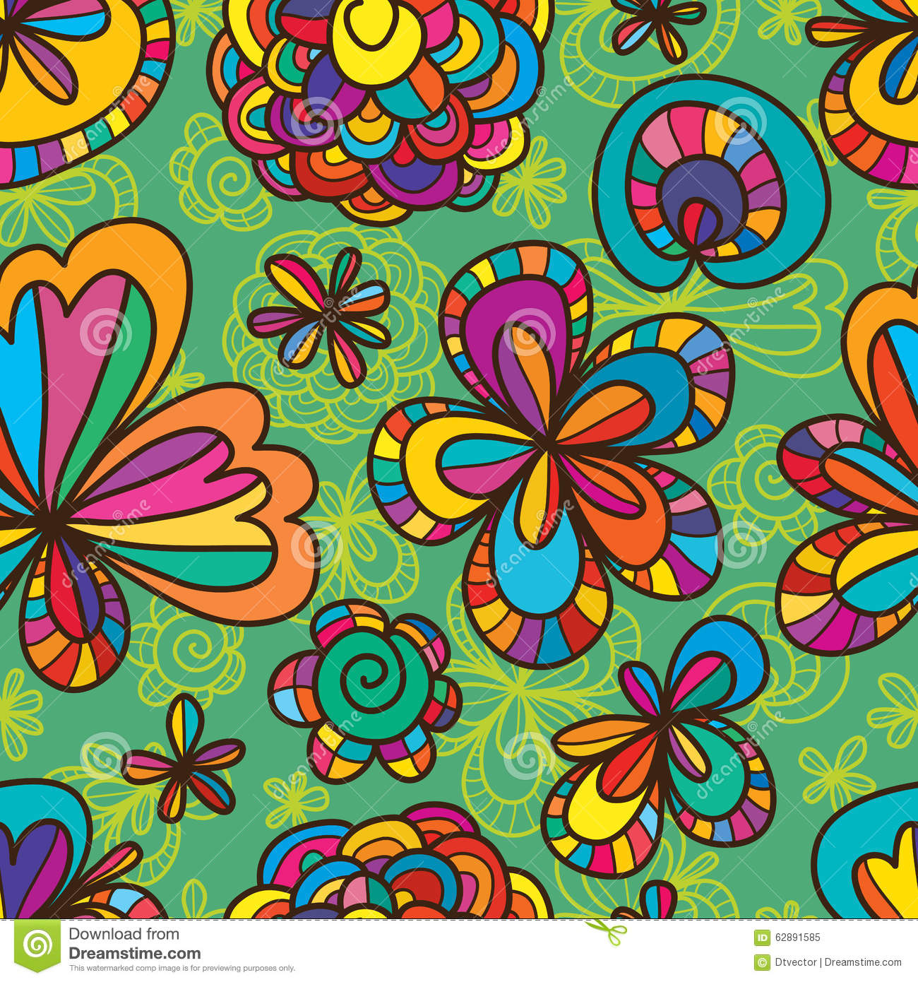 Green Flower Line Drawing : Flower drawing line seamless pattern stock vector image