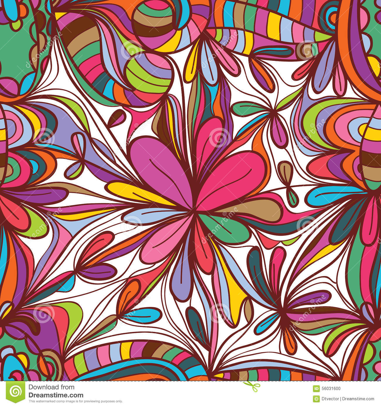 Flower drawing square seamless pattern
