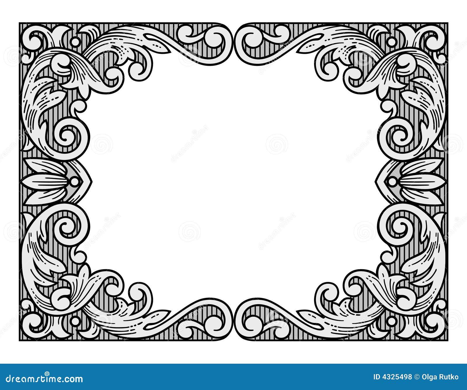 Flower engraving frame stock vector. Illustration of retro - 4325498