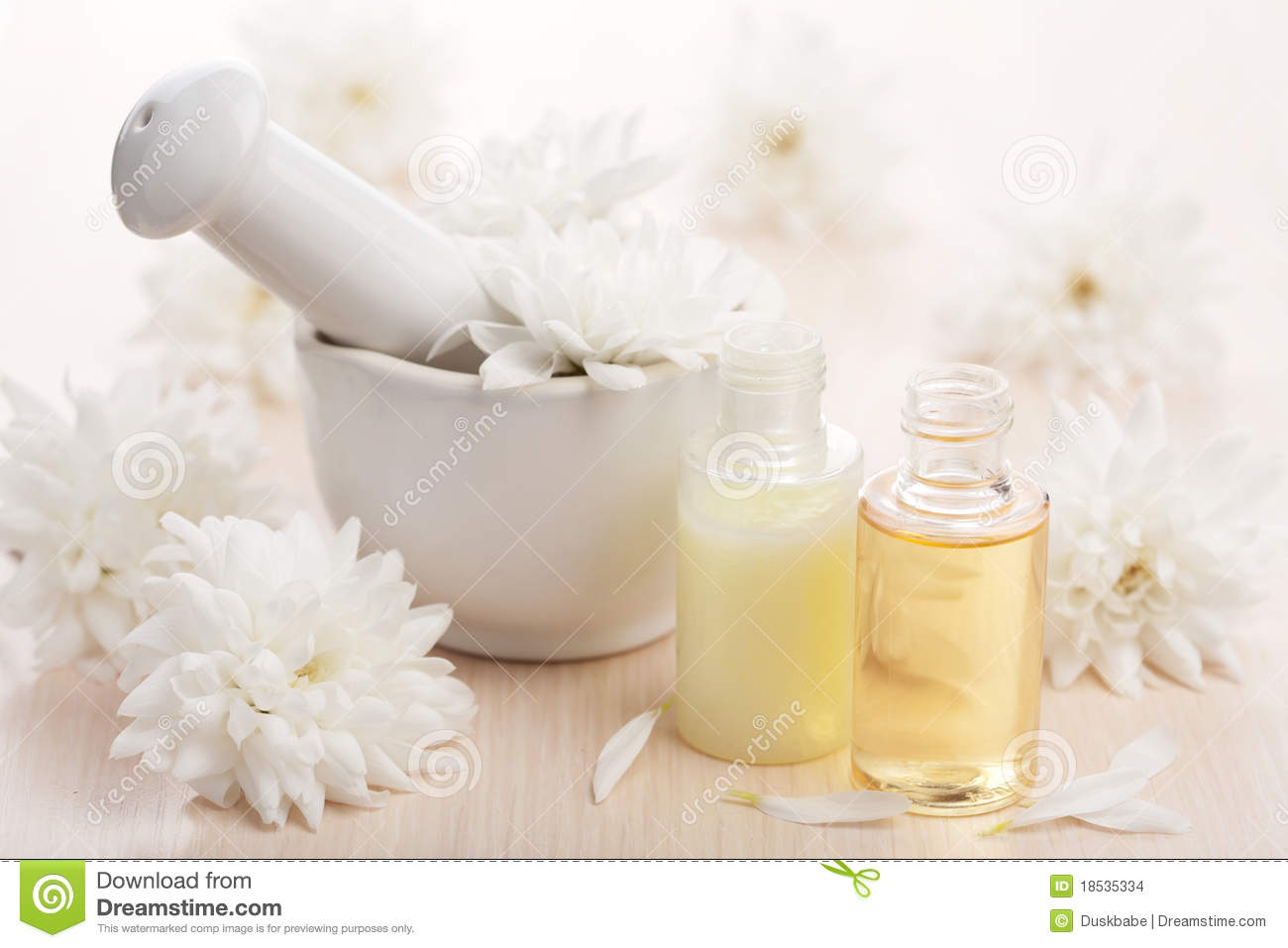 Flower Essential Oil And Mortar Stock Image