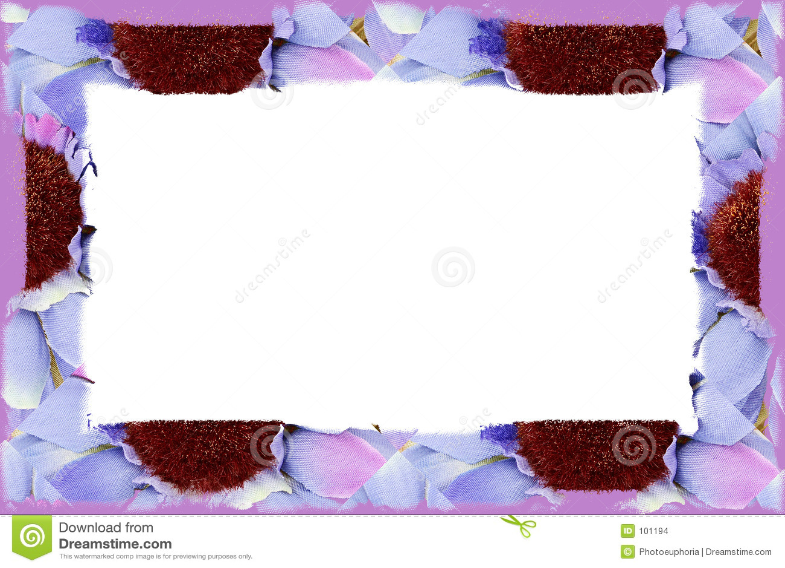 Flower Fabric Border Over White
