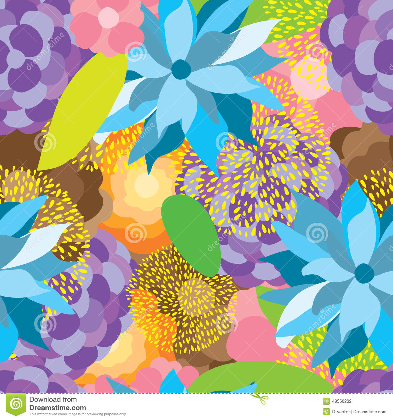 Flower Fabric Colorful Seamless Pattern Stock Vector