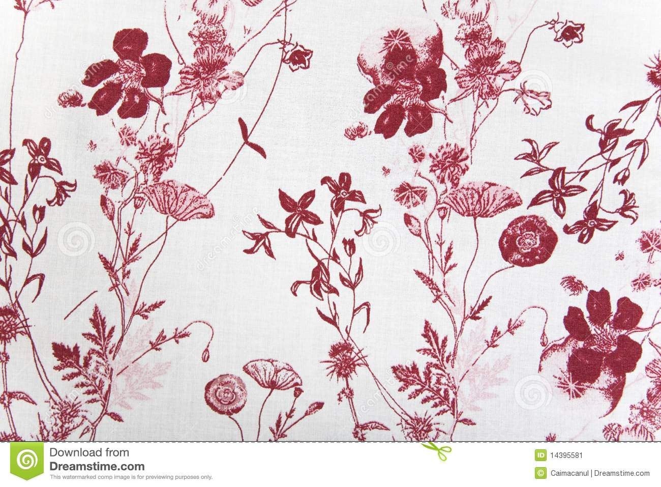 Flower fabric texture, red plants on white background.