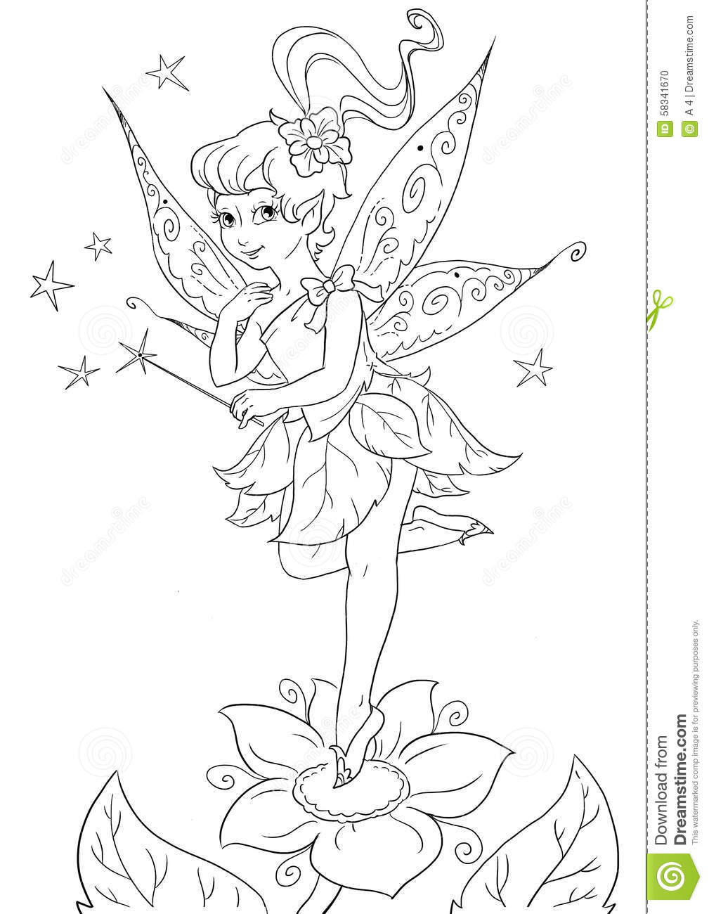 Download Flower Fairy Coloring Page Stock Illustration   Illustration Of  Spring, Character: 58341670
