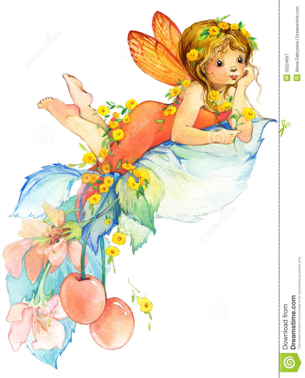 flower fairy watercolor drawing stock illustration image 55224697