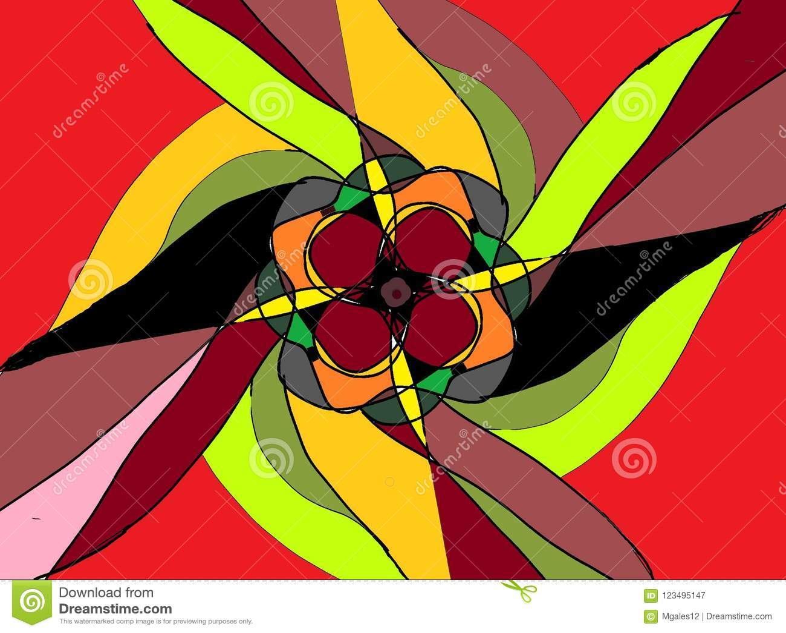Flower Fantasy In Multi Color Pattern Stock Illustration ...