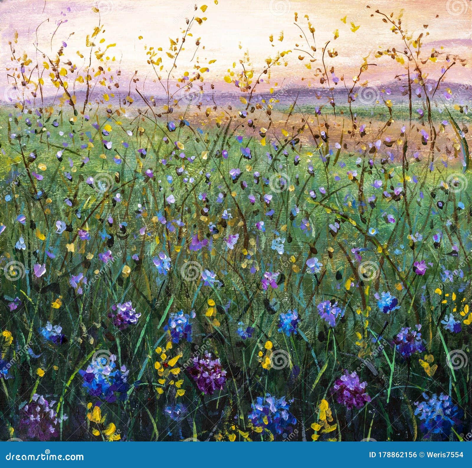 Original Oil Painting Of Flowers Beautiful Field Flowers On Canvas Stock Photo Image Of Artwork Artist 178862156