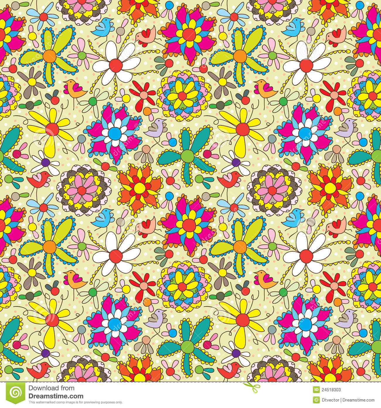flower fill colorful seamless pattern eps stock photos