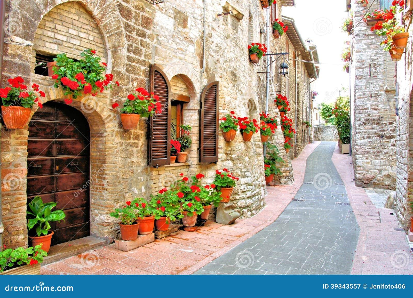 Flower Filled Italian Lane Stock Image