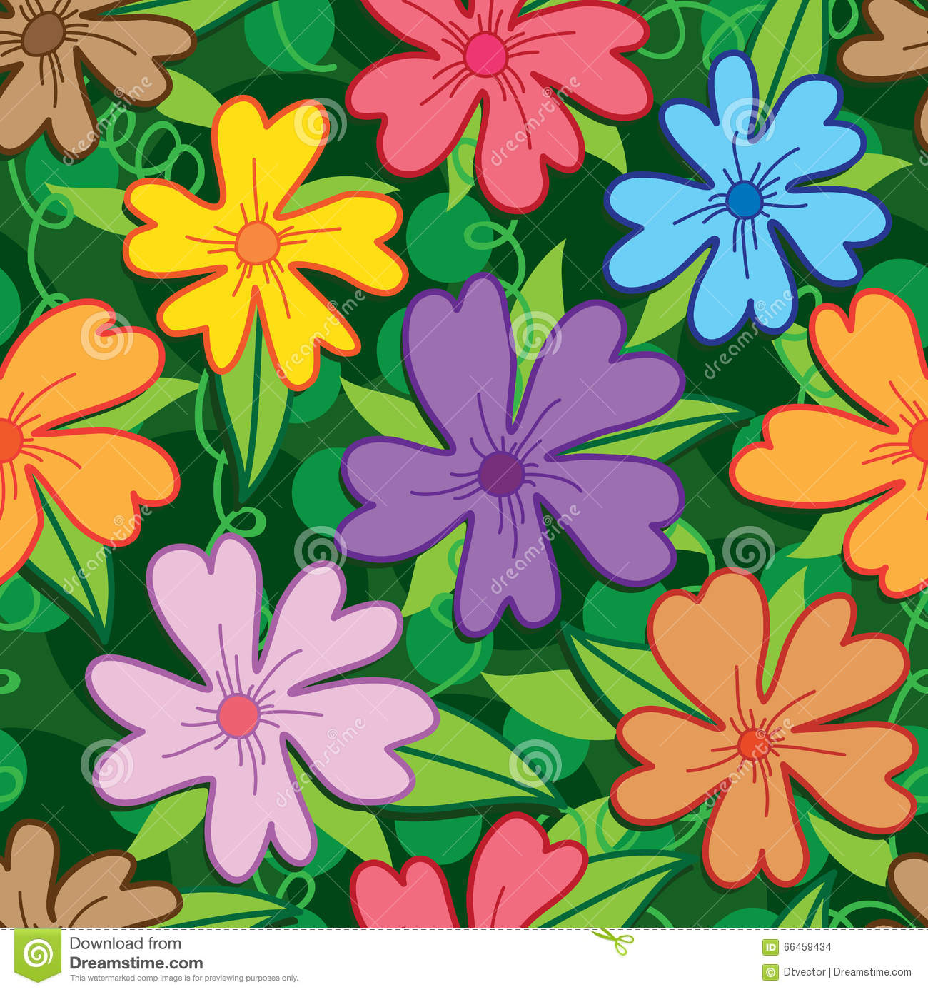 Pattern Flower Drawing With Colour Best 25 Flower Tattoo: Flower Five Petal Colorful Seamless Pattern Stock Vector