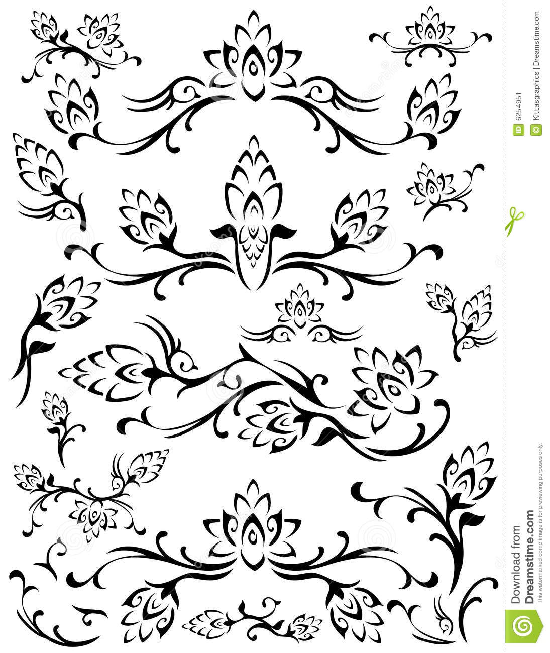 Abstract Flower Background With Decoration Elements For: Flower Floral Leaf Elements Abstract Silhouette Stock