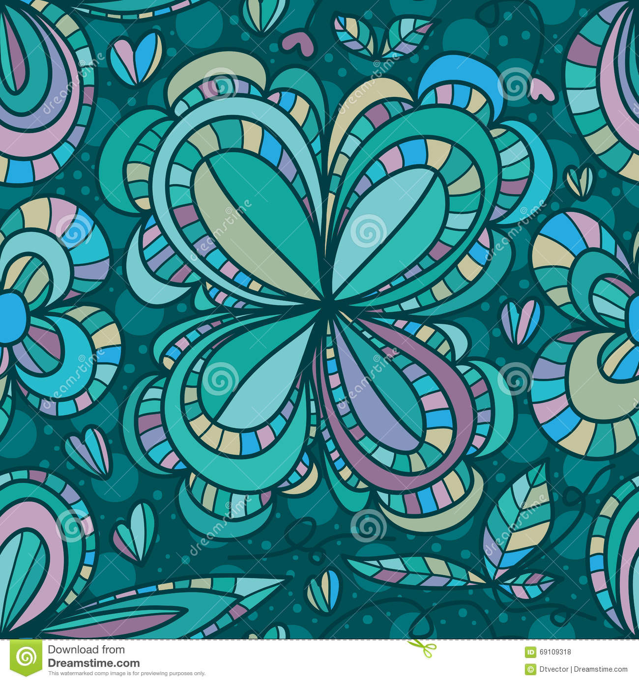 Green Flower Line Drawing : Flower four line drawing seamless pattern stock photo