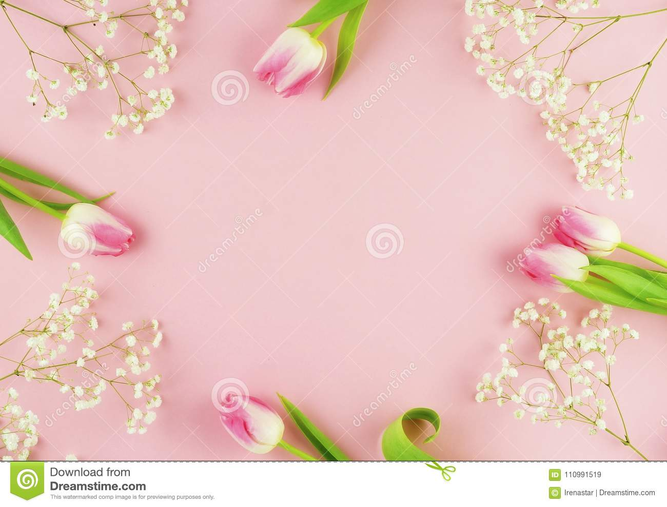 Flower Frame Arrangement Of Pink Tulips And White Flowers Stock