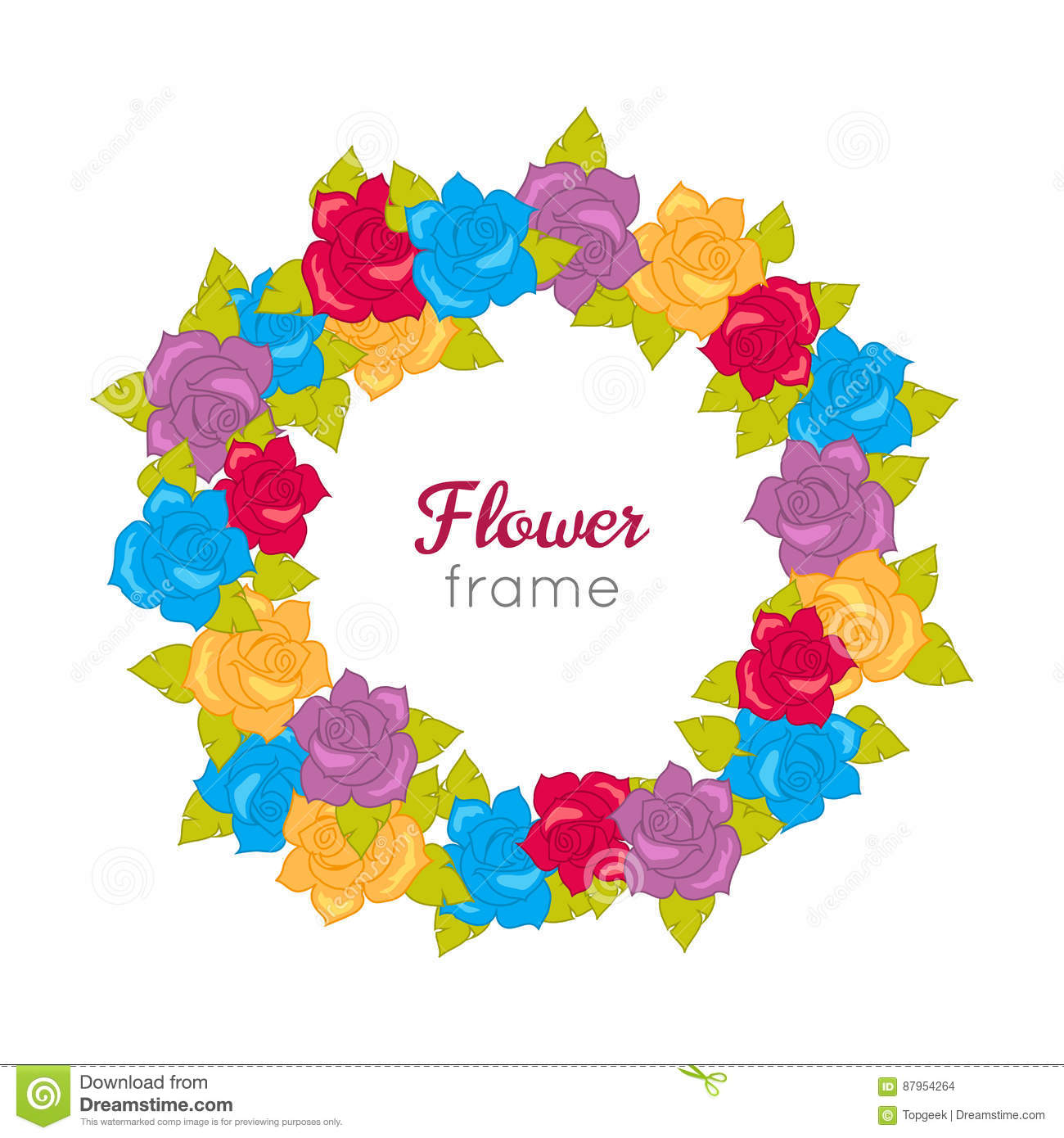 1b8f8694d9 Flower frame. Circle wreath of different blossoms. Green leaves. Colourful  selection of flowers on white. Blue purple yellow red roses. Decoration.