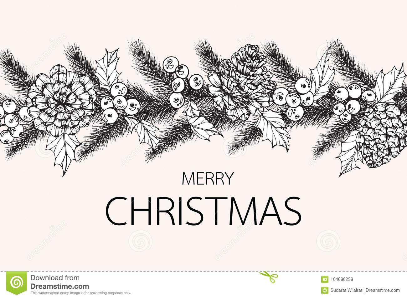 flower frame drawing illustration for merry christmas day stock
