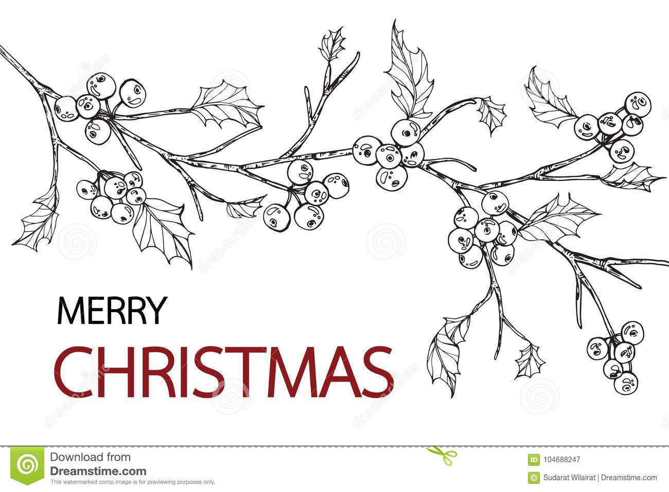 holly tree frame drawing illustration stock illustration