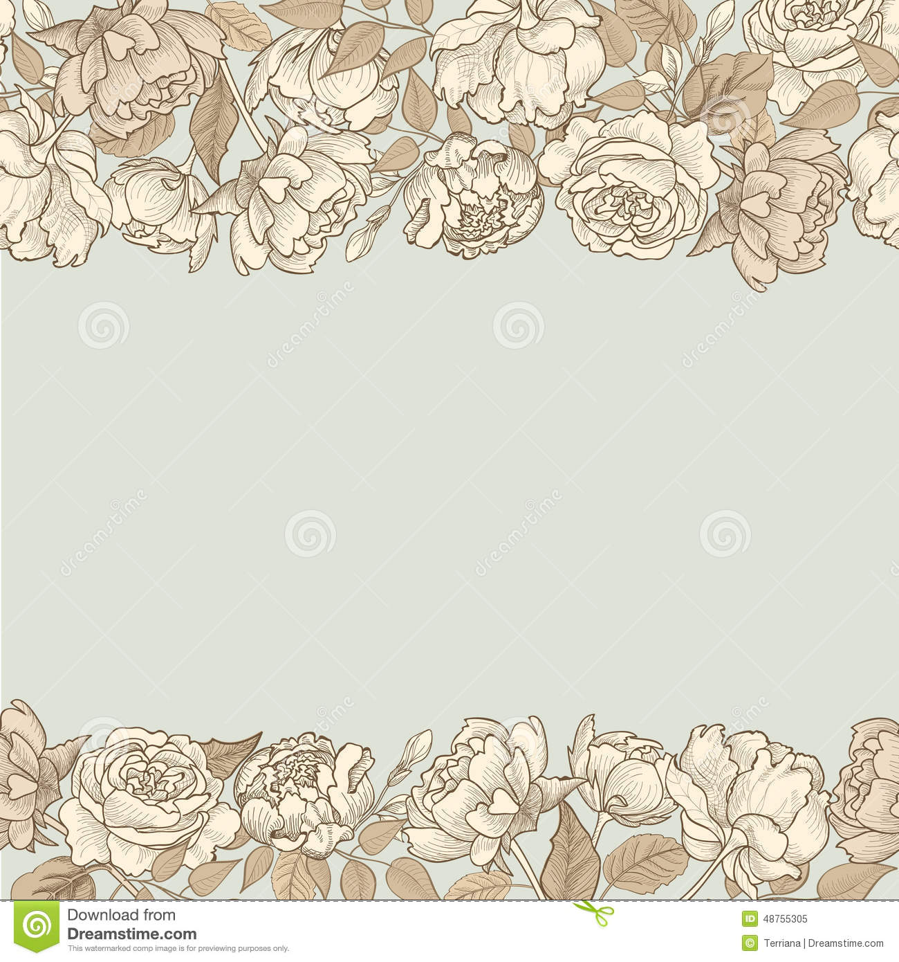 Flower frame. Floral seamless border. Vintage flourish textured