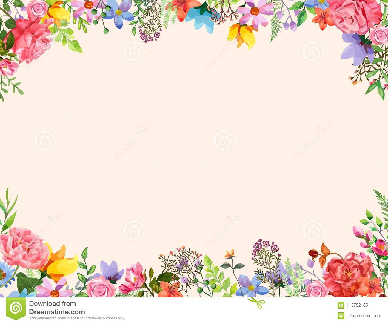 Flower Frame Invitation Design Template Vector Illustration With