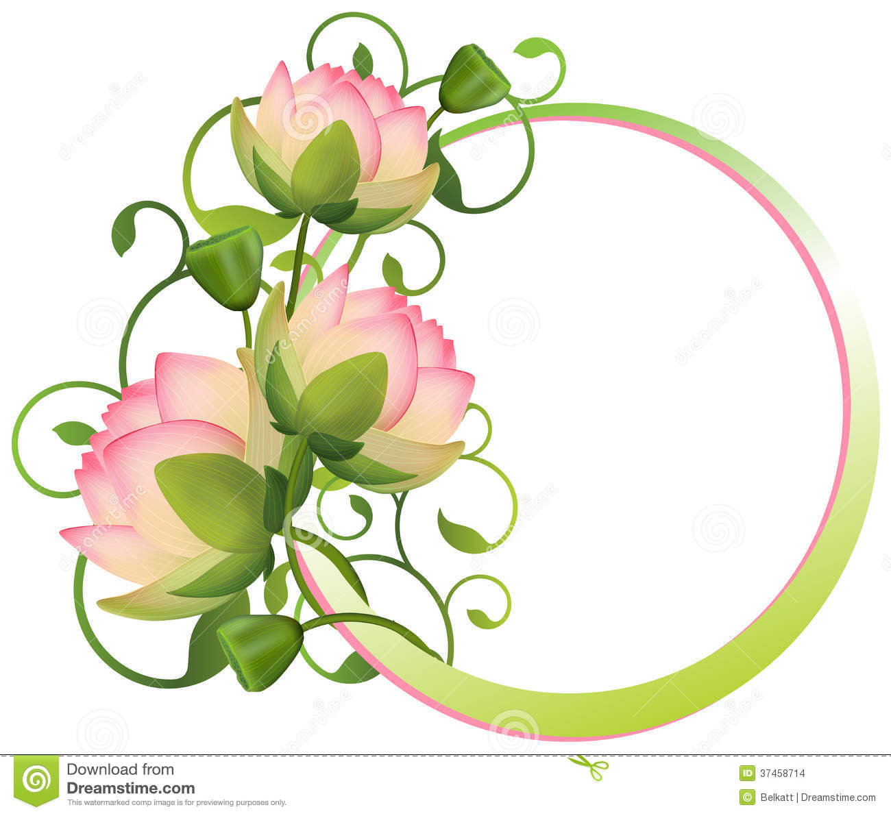 Flower frame. lotus Flower