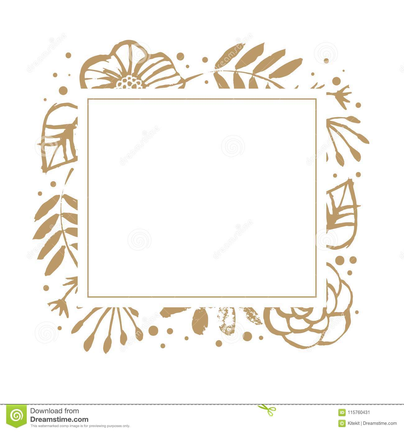 flower frame template for wedding invitation and greeting card