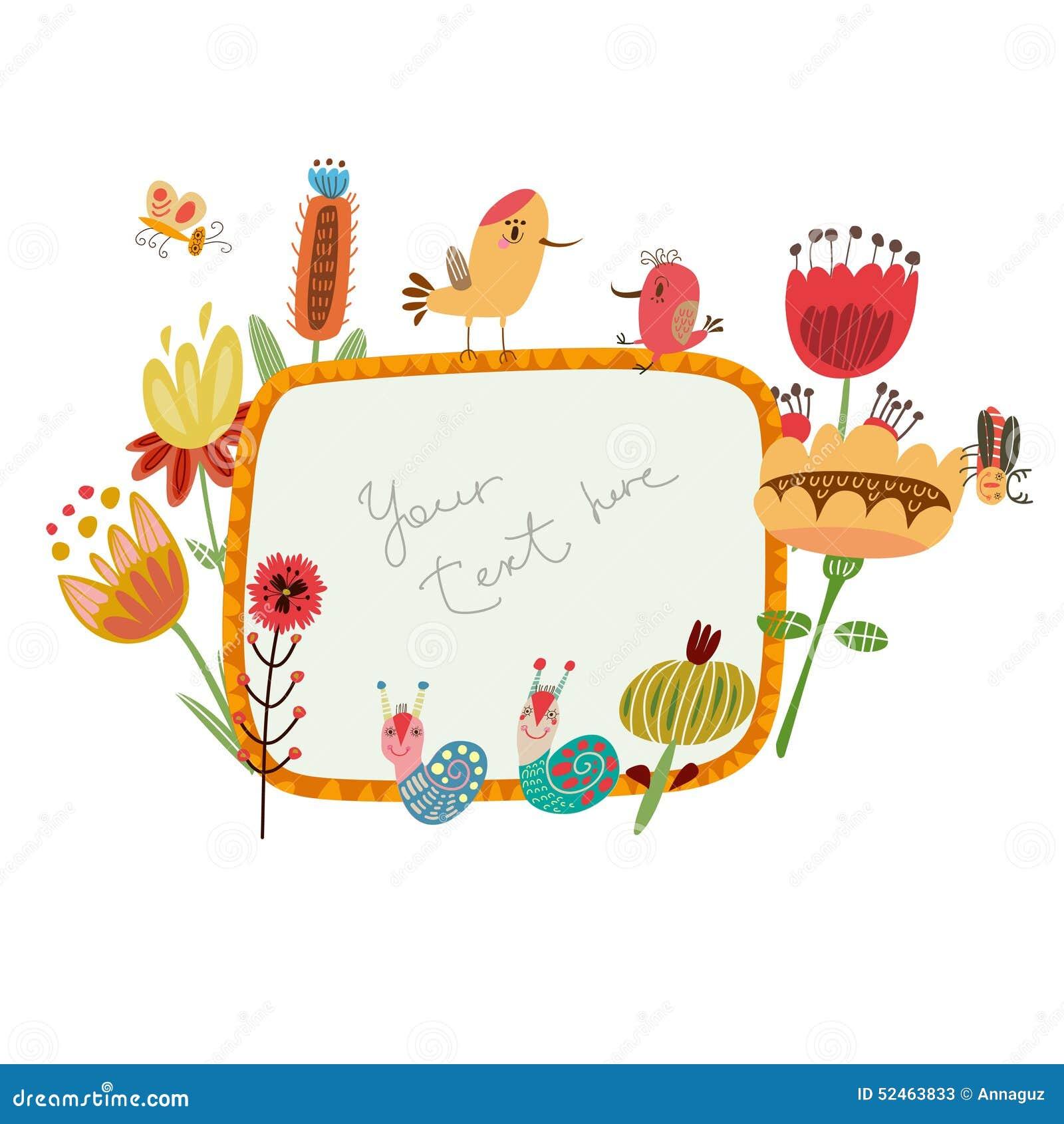 Flower Frames Cute Flowers And Birds Stock Illustration ...