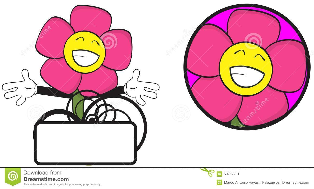 Flower Funny Cartoon Expression Copyspace9 Stock Vector ...