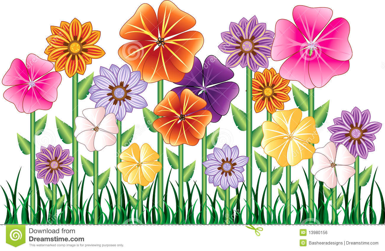 flower garden stock vector illustration of flowers clipart 13980156 rh dreamstime com flower clip art free images black and white flower clip art free images black and white