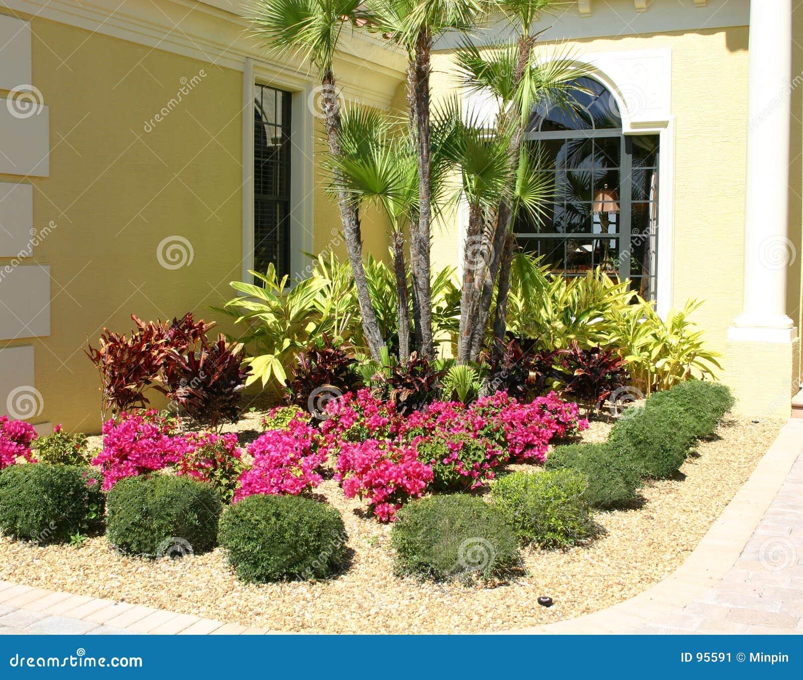 Corner Floral Garden Area: Flower Garden Stock Image. Image Of Stonebed, Corner, Palm