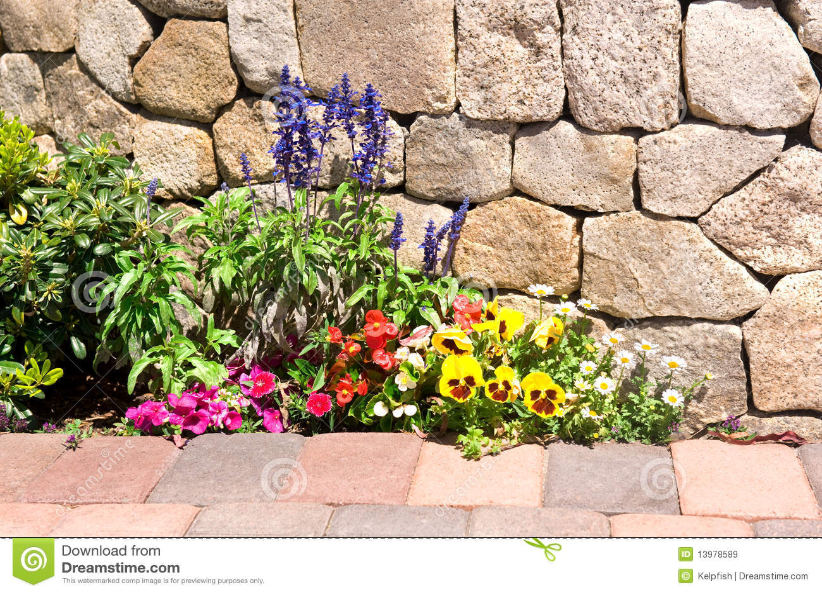Flower garden along stone wall stock image image 13978589 for Flower wall garden