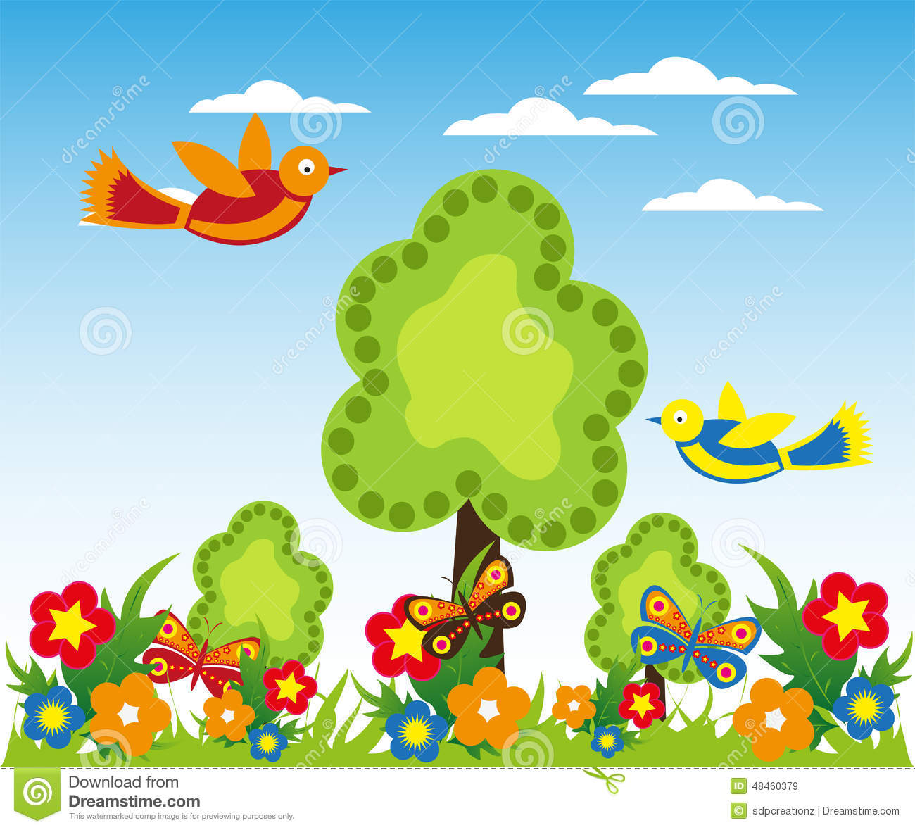 flower garden with butterflies background stock illustration, Garten ideen