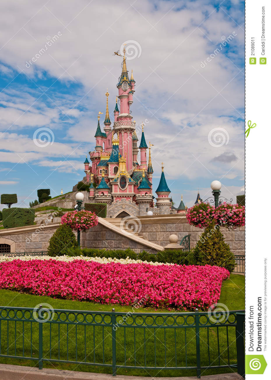 Flower Garden And Castle At Disneyland Editorial Photo