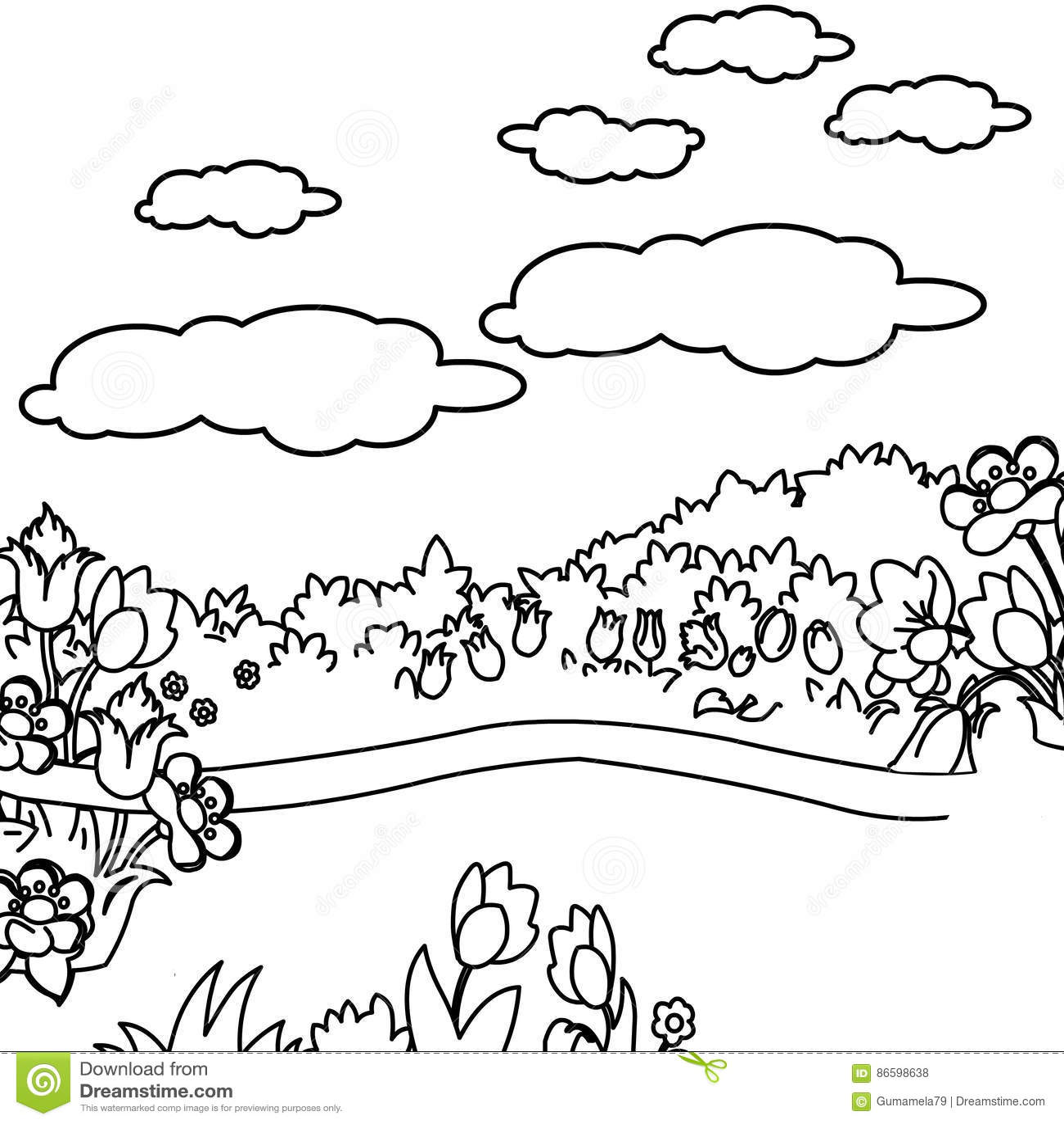 Flower Garden Coloring Page Stock Illustration - Illustration of ...