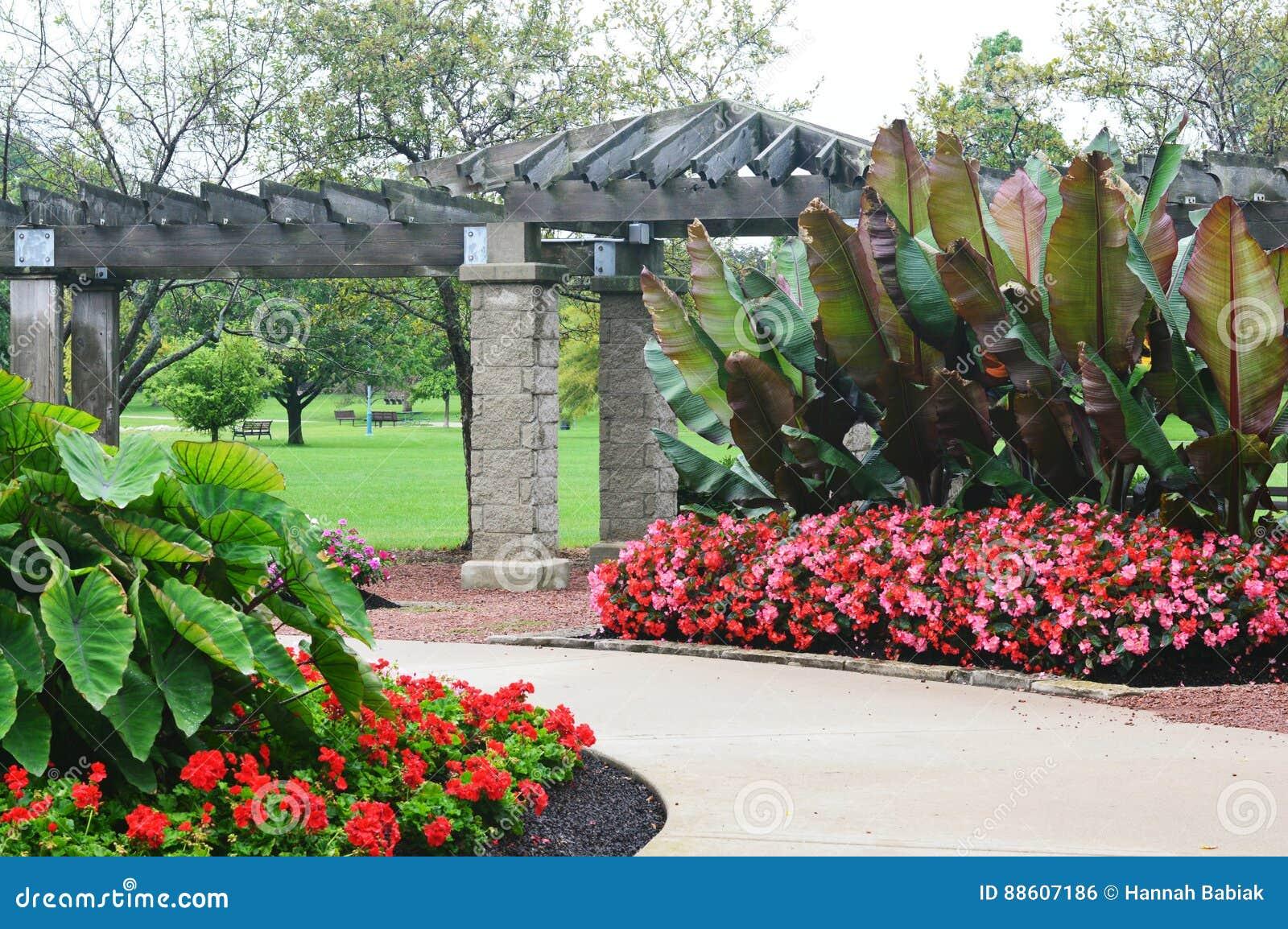 Flower Garden Eichelman Park Kenosha Wisconsin Stock Photo