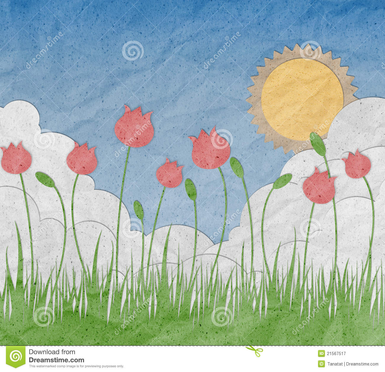 Flower Garden Made From Recycled Paper Craft Royalty Free Stock