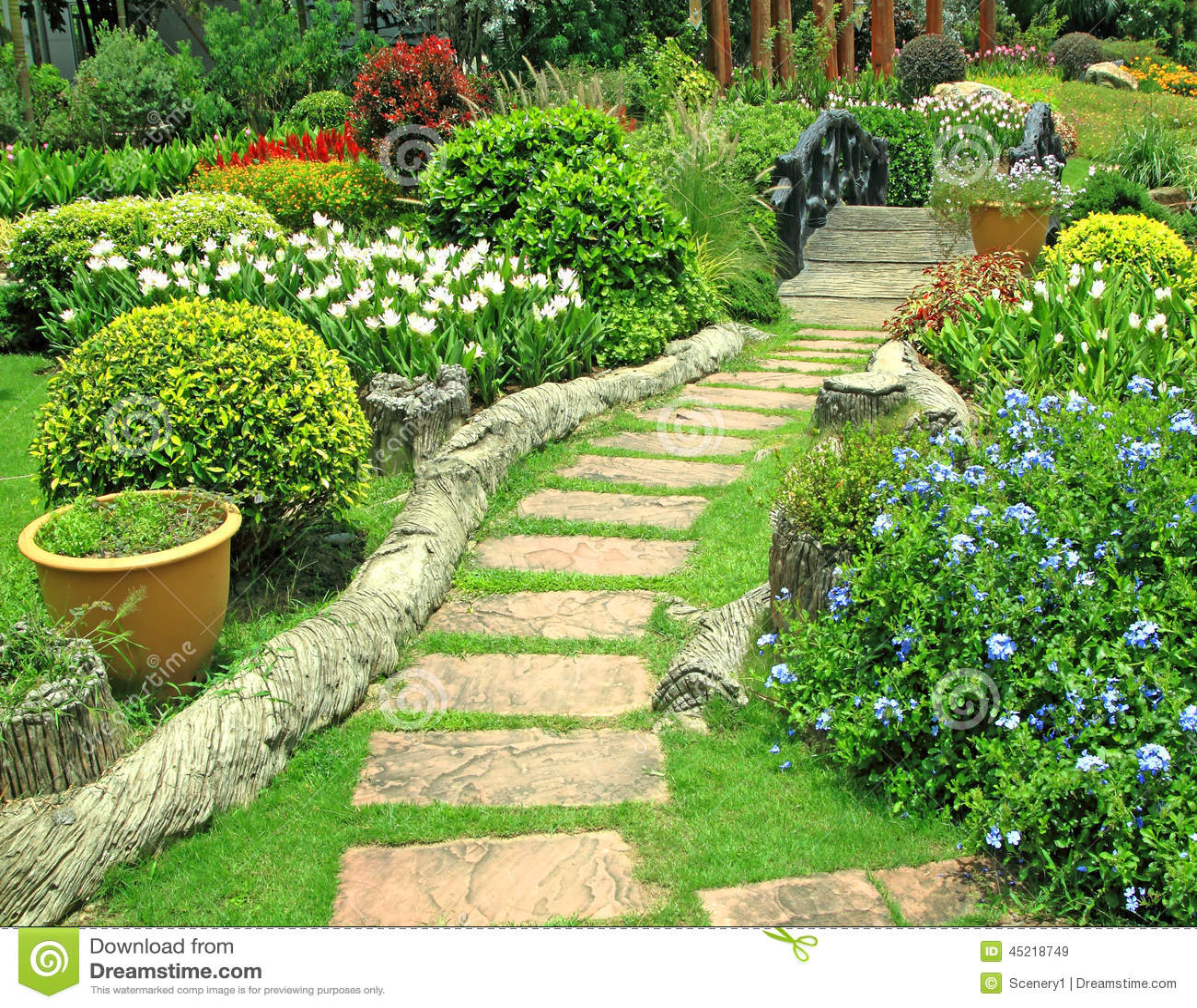 Flower Garden Stock Image Image Of Bright Background 45218749