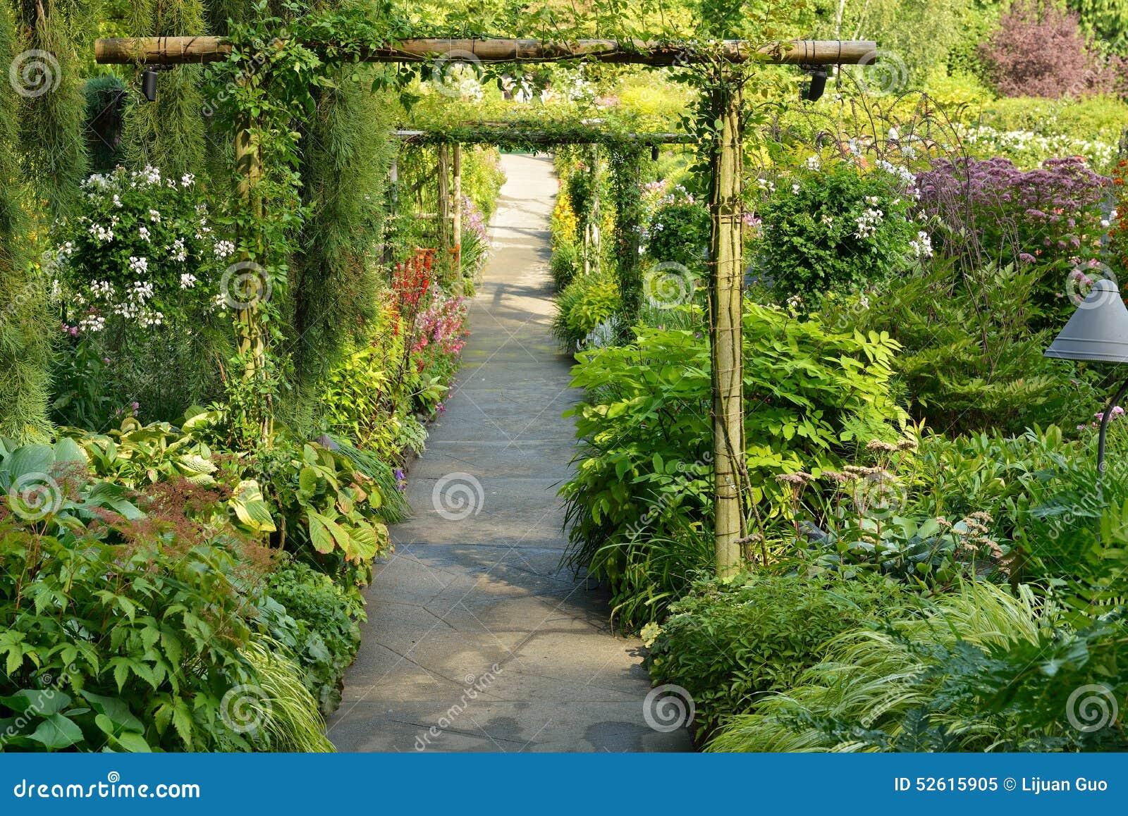 Flower Garden Walkway Stock Photo - Image: 52615905