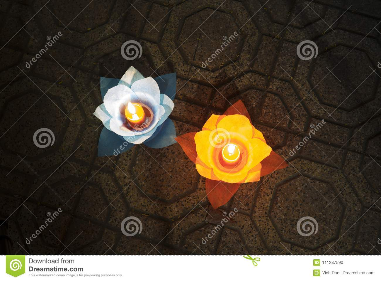 Flower Garlands And Colored Lanterns For Celebrating Buddha S